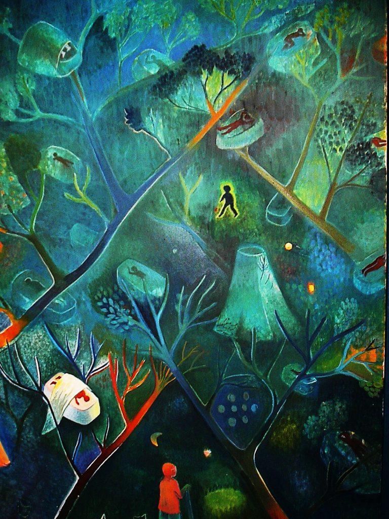"""Πίνακας της Ιωάννας Τερλίδου """"Νυχτερινός φύλακας στην κατασκήνωση"""""""