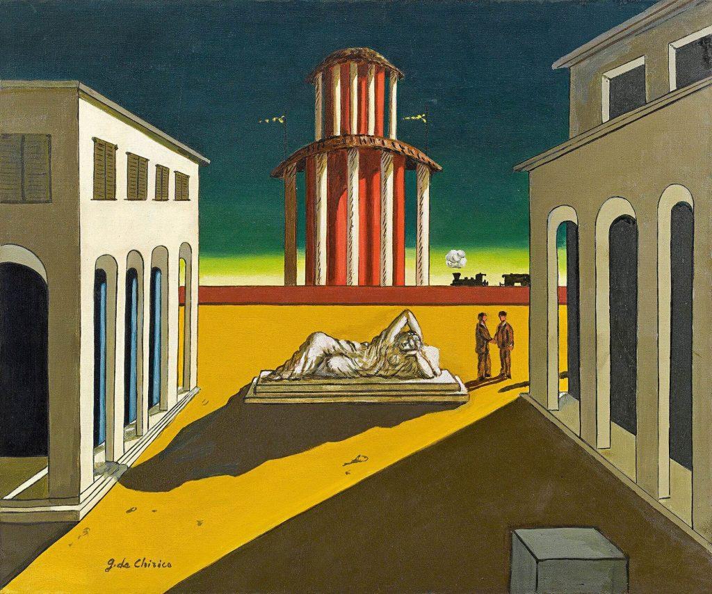 πίνακας του Τζόρτζιο ντε Κίρικο «Ιταλική πλατεία»(1967).