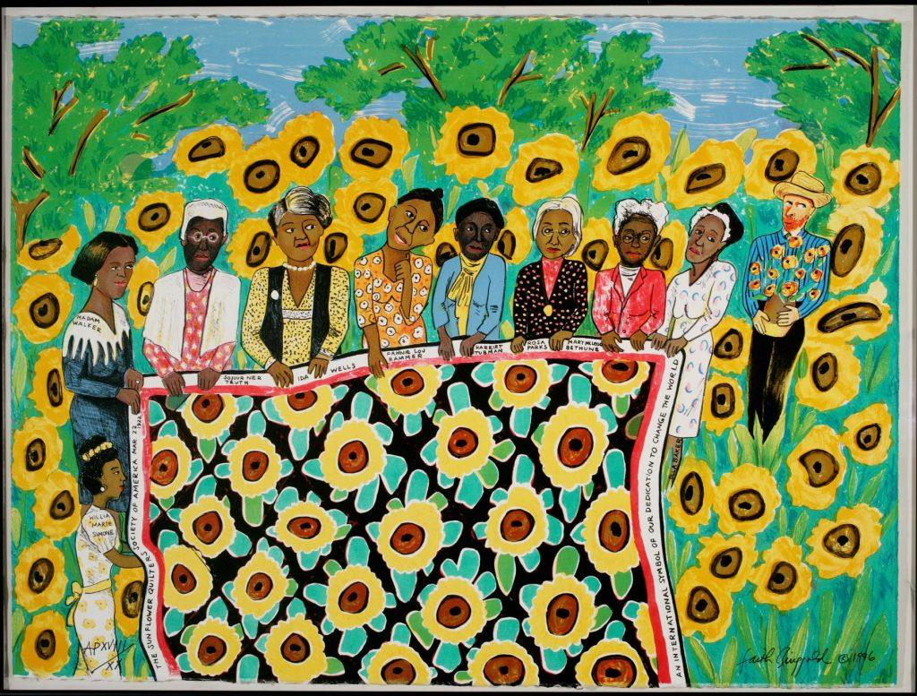 """Έργο της Φέιθ Ρινγκολντ """"The Sunflower Quilting Bee at Arles"""""""